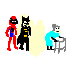 Batman and Spiderman check out an old lady