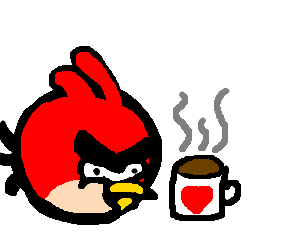 An Angry Bird having a cup of tea