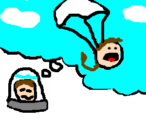 A floating head dreams of skydiving with a tail