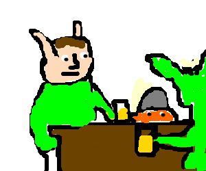 Legolas and Gimli drinking beer with an orc - Drawception