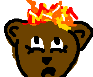 Bear steals fire. Is up to no good.