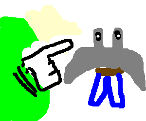 Green Blob points at Barrel-Manta-Ray-Man