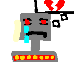 robot cryng thinking about love
