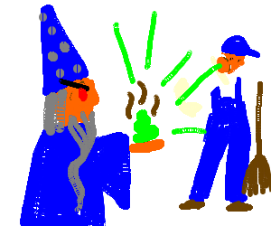 a wizard fights a janitor with a shiny turd