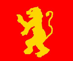 A lion rampant, on a field of scarlet