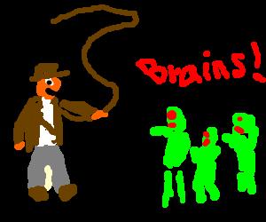 Indiana Jones fighting 3 Nazi zombies