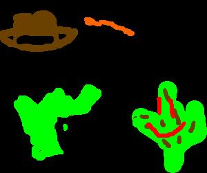 Inidana Jones whipping humanoid cactuses