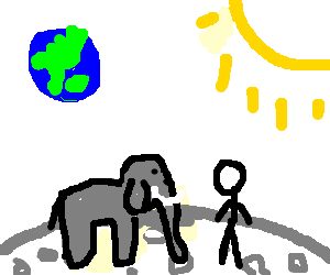 man with an elephant on the moon