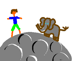 elephant and man on moon