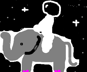 Astronaut riding an elephant