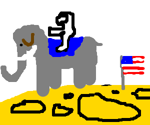 An astronaut rides an elephant on the moon.