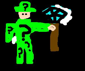 The Riddler holding a pimp cane