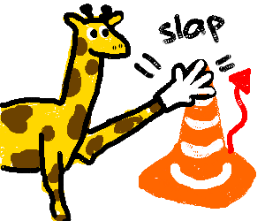 Gentlemanly Girraffe fights evil traffic cone
