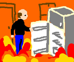 bald man opening apple fridge in a burning house