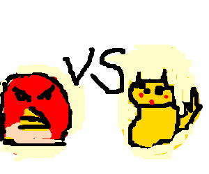 Red Angry Bird vs. Pikachu - fight to the death