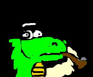 gentledino smokes pipe