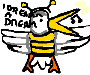 Seagull in bee costume is succesful singer