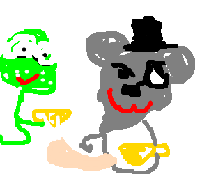 Koala & frog having a tea party.