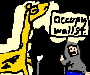 Posh giraffe accosts proletarian peasant.