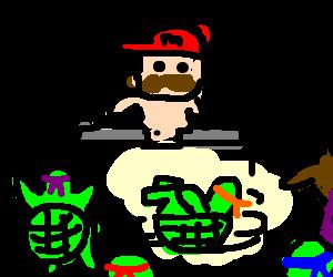 naked mario DJing a ninja turtles party