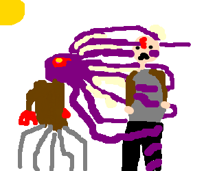 purple octopus alien sucks life of man
