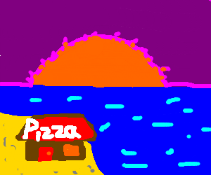 Pizza Hut on the coast as the sun sets