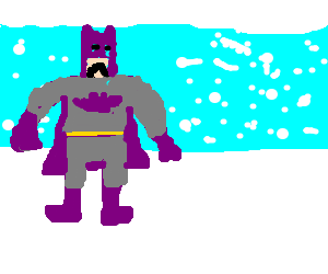 purple batman is sad in the snow