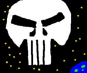 The punishers symbol is lost in space.