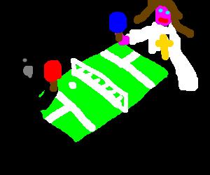 Darth Vader meets jesus in table-tennis