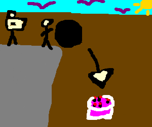 A man accidently pushes a boulder over a cake