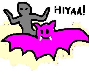 Ninja rideing a pink bat