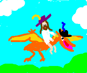Jesus on a pterodactly they both have cool hats