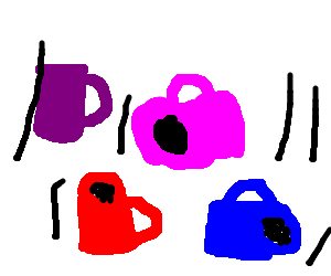 colorful coffee cups falling