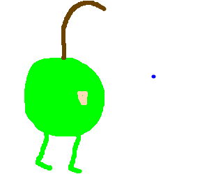 an apple with a long stem and weird legs, dot