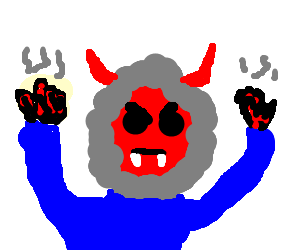 devil eskimo with severely charred hands