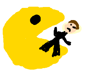 pacman eating a man