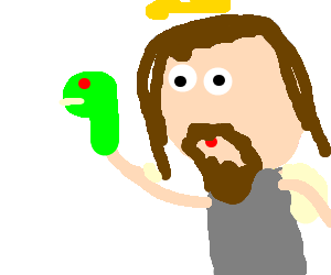 Jesus with a glove puppet