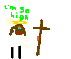Jesus high on weed holding a scale and cross