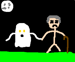 Ghost holding hands with dead old man