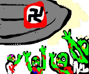 Zombies worshipping nazi zeppelin