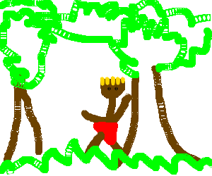 Indian pooping in the woods