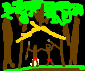 red speedos tribesmen under rain forest canopy