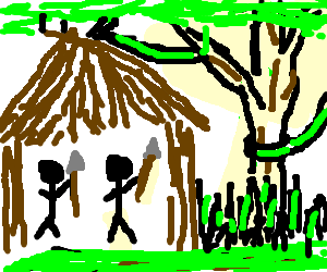 natives with spears in stick hut in the jungle