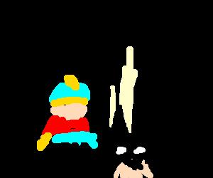 Evil universe Cartman kicking batman
