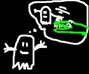 Black ghost  dreams of petting crocodile