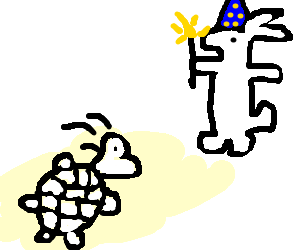 Albino turtle bows down before magic rabbit