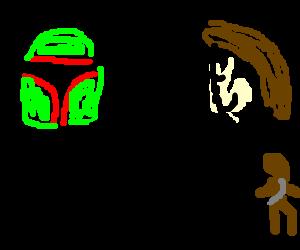 Boba Fett hugging Han Solo