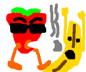 Cool smoking strawberry stubles upon banana