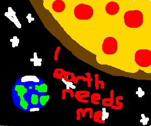 Pizza goes to earth... just in time