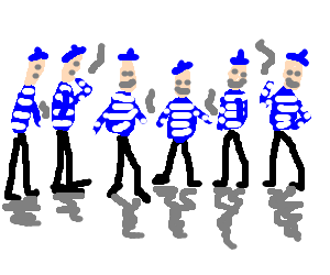 6 moderately happy Frenchmen